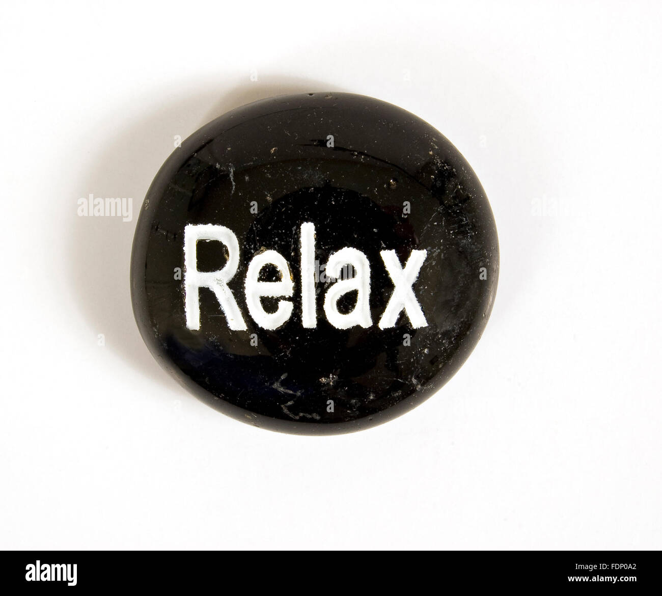 Relax Stone on White Background With Shadow - Stock Image