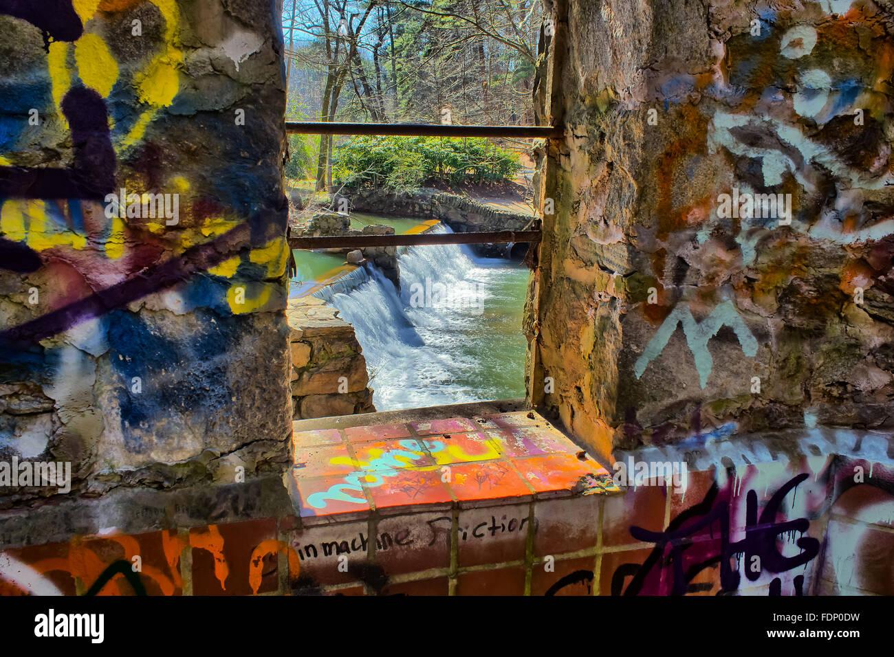 Lullwater Waterfall Spillway Through a window Stock Photo
