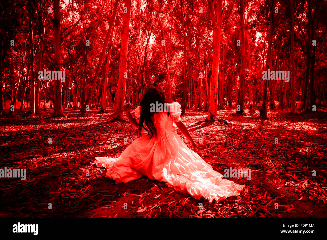 Scary Woman in the Wood - Stock Image