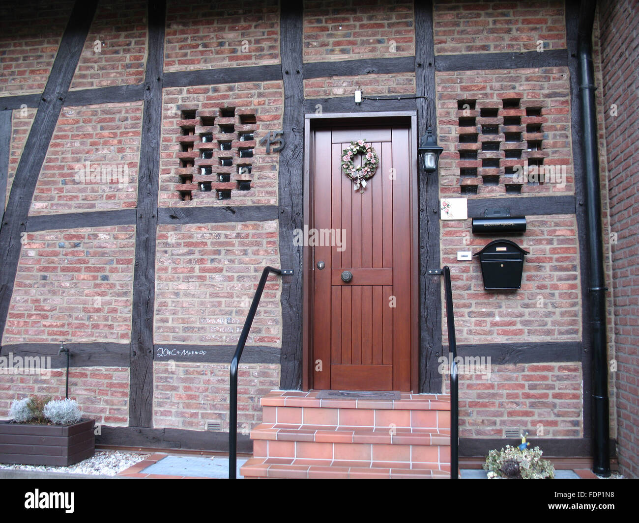half timbered,front door,house entrance - Stock Image