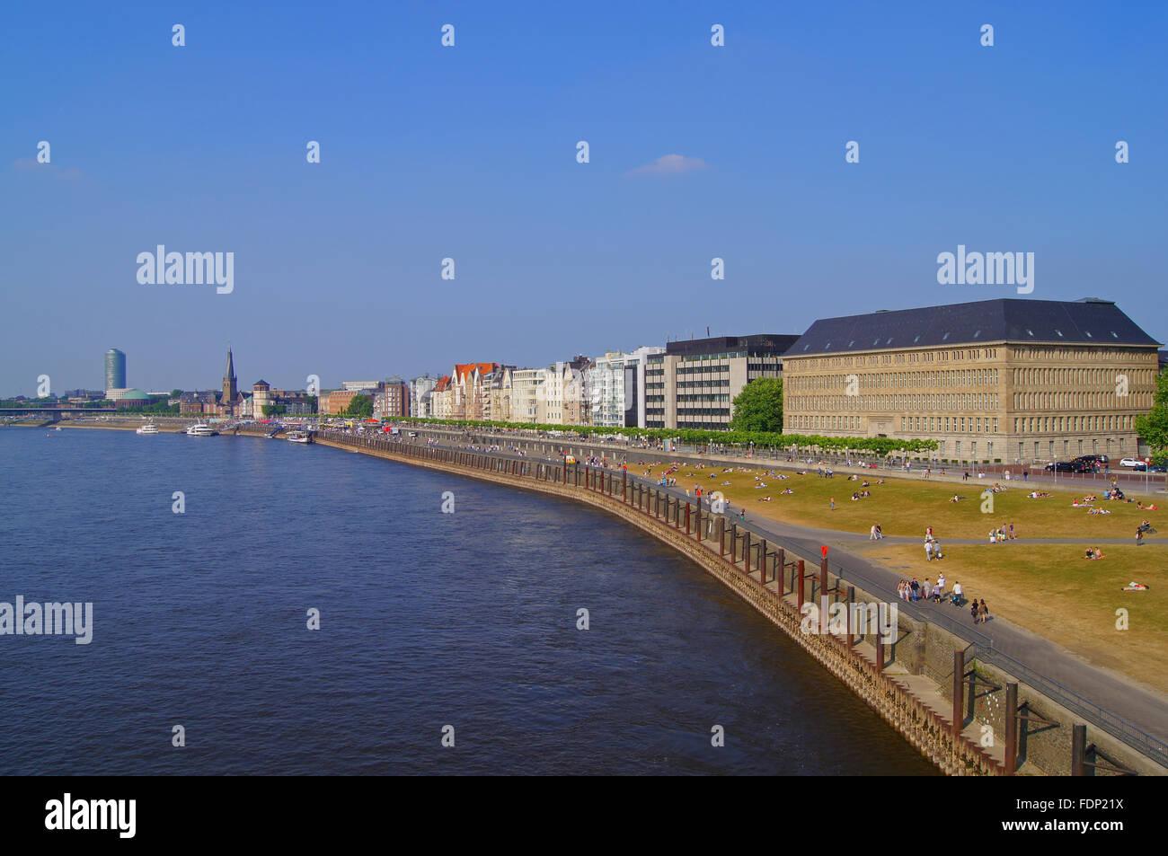 düsseldorf,rhine river,rhine promenade - Stock Image
