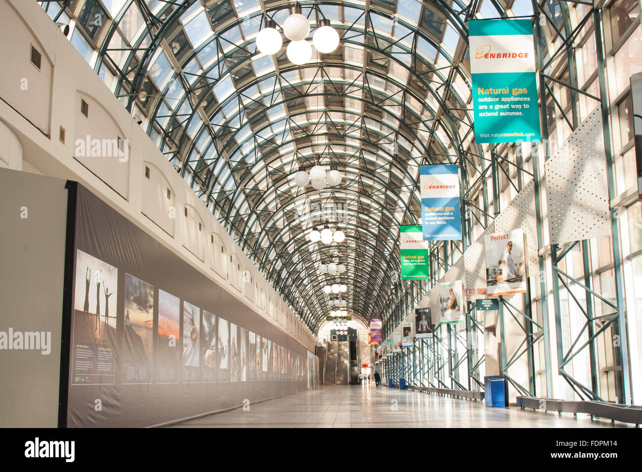 TORONTO - SEPTEMBER 12, 2011: The SkyWalk is an approximately 500 metre enclosed walkway connecting Union Station - Stock Image