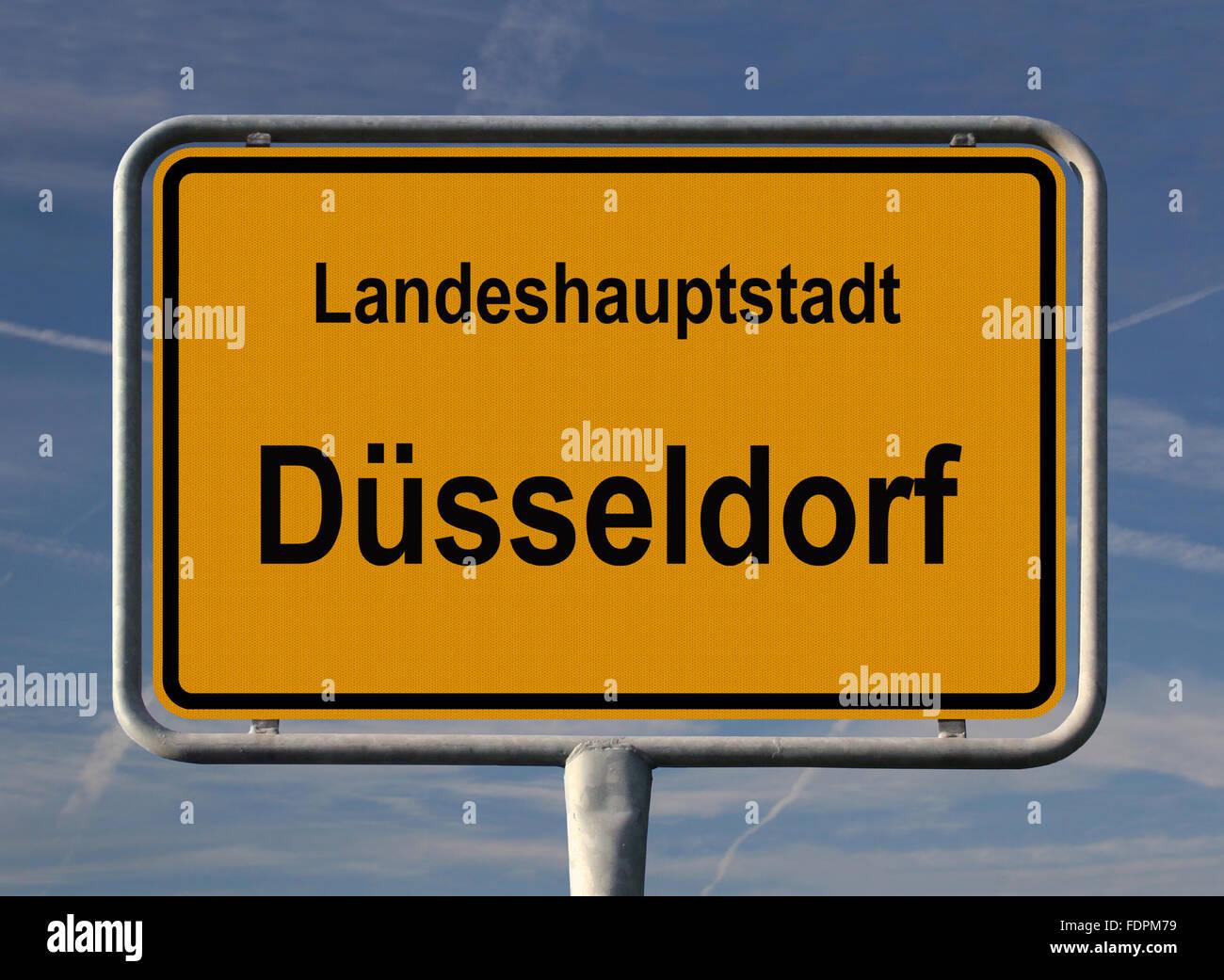 düsseldorf,capital cities,north rhine westphalia,city sign - Stock Image