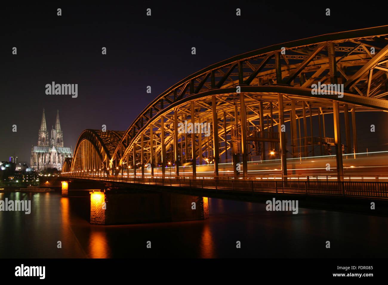 cologne,cologne cathedral,rhine river,hohenzollern bridge - Stock Image
