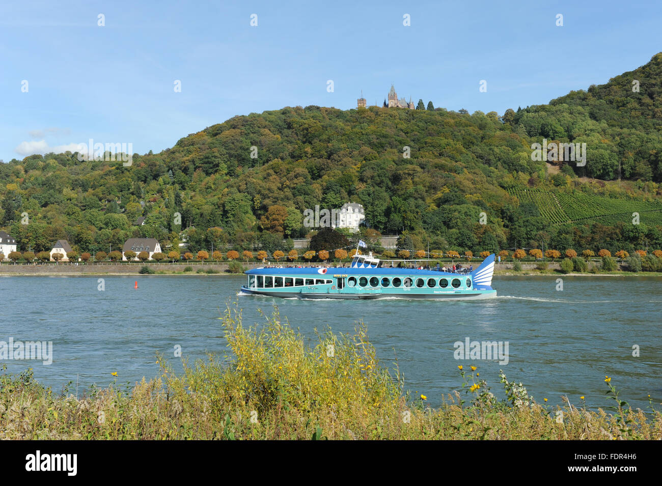rhine river,pleasure boat,drachenburg castle - Stock Image