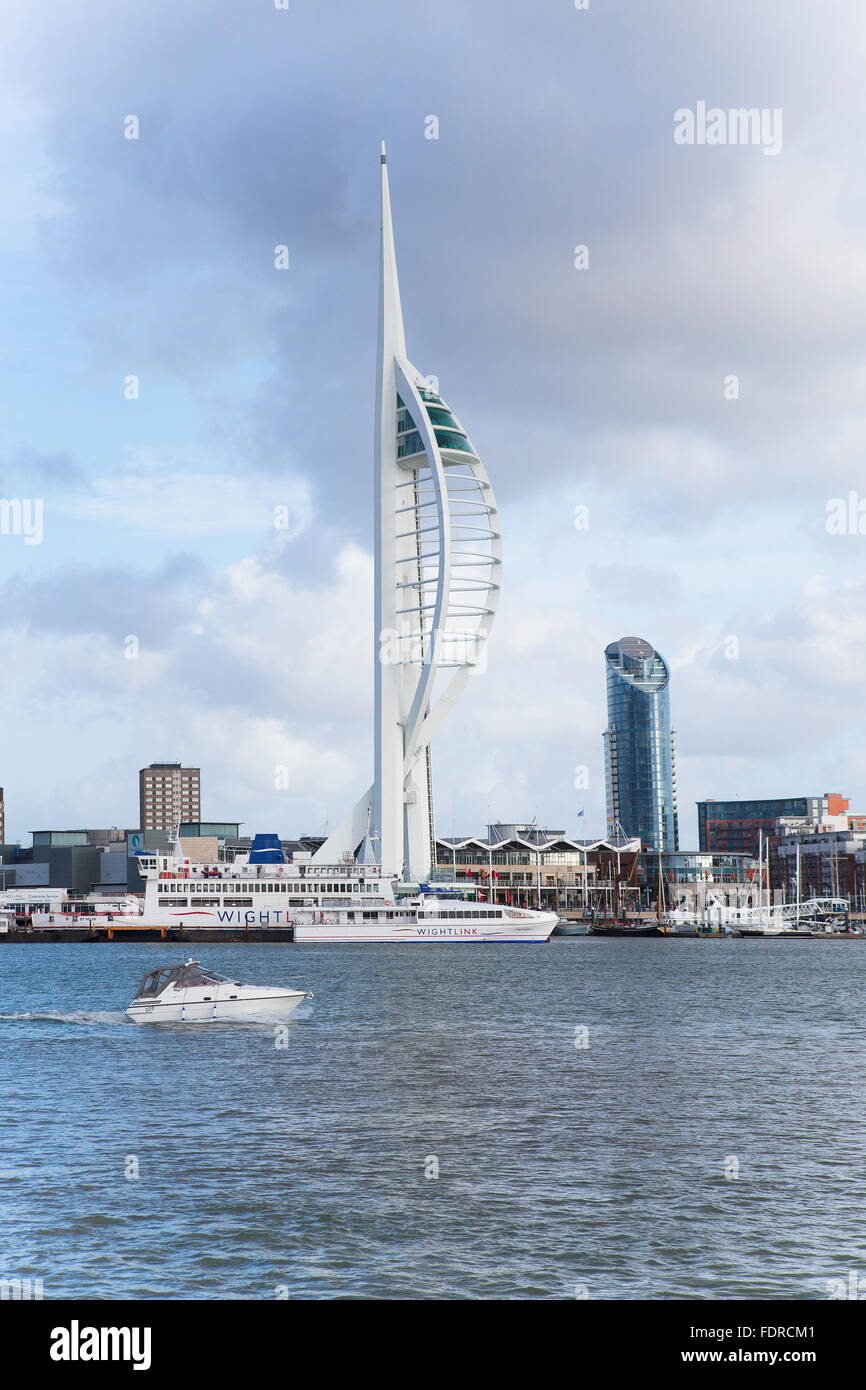 Portsmouth Harbour showing Gunwharf Quays and The Spinnaker Tower - Stock Image