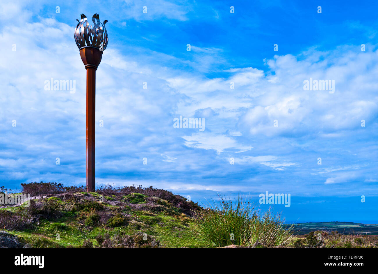Gas fired Danby Beacon on the top of Beacon Hill, near Danby, North York Moors, Yorkshire, England UK - Stock Image