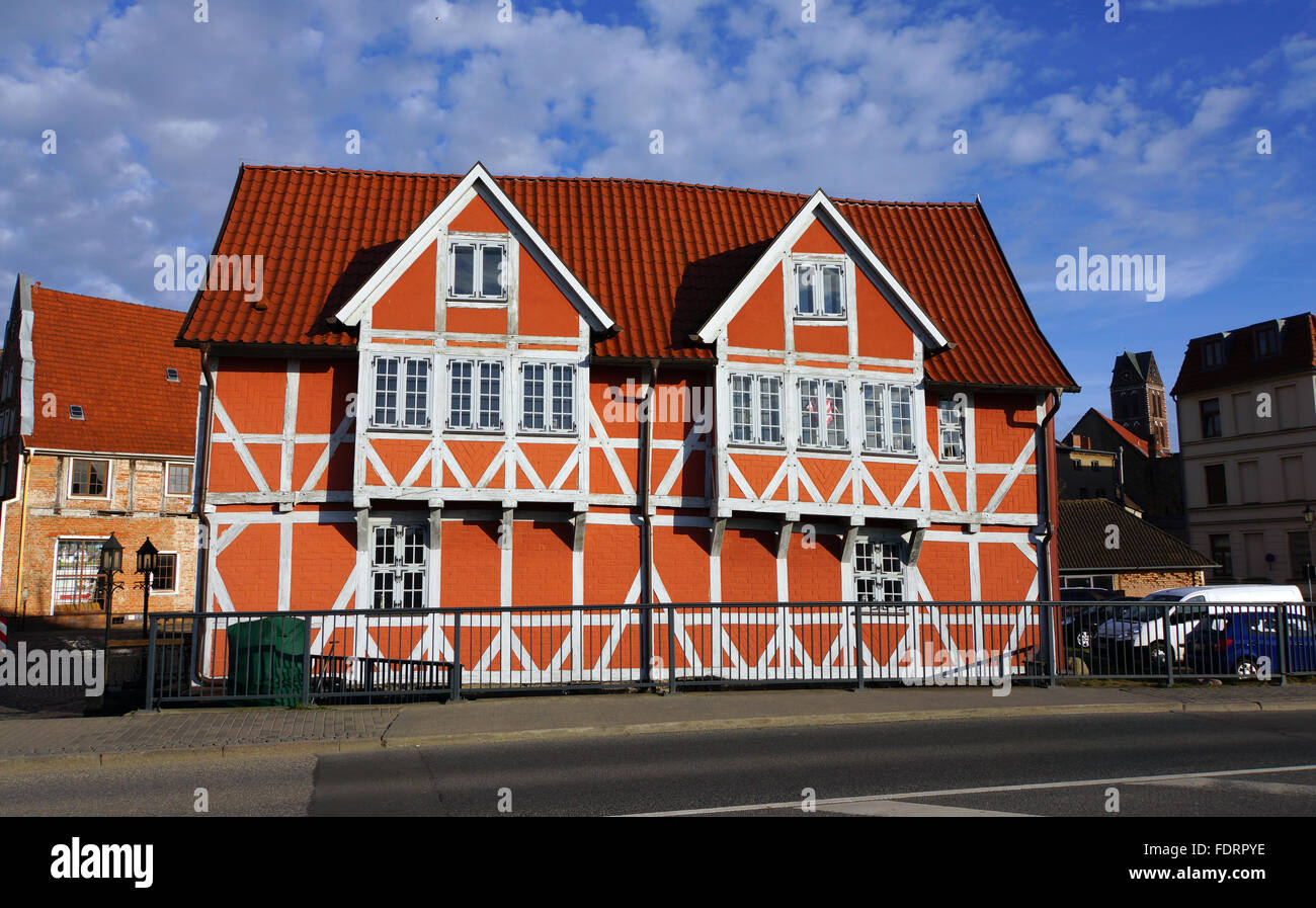 wismar,timbered,bridgehouse - Stock Image