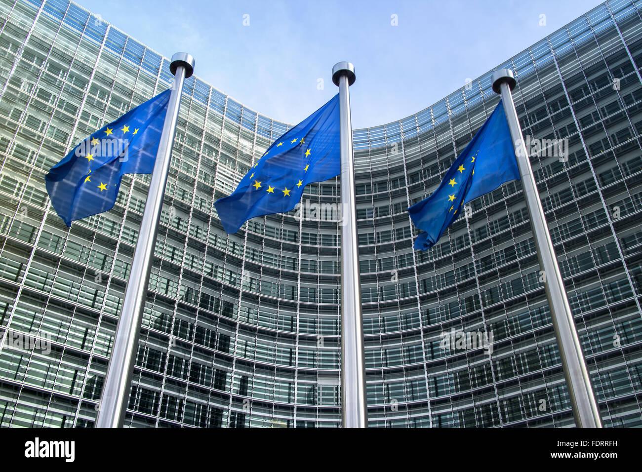 eu,brussels,european union flag,european commission,berlaymont building - Stock Image