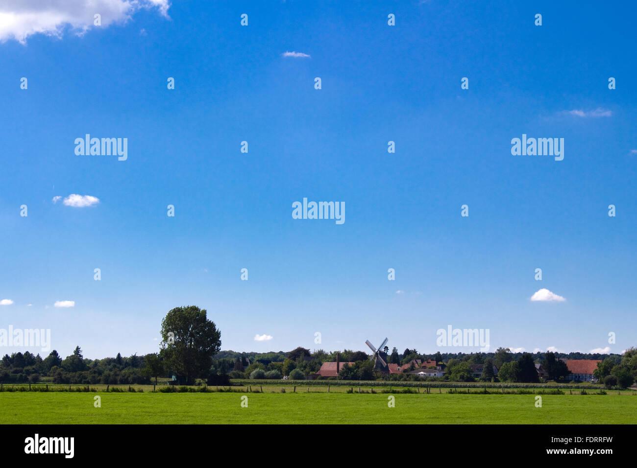 village,sky,rural scene - Stock Image