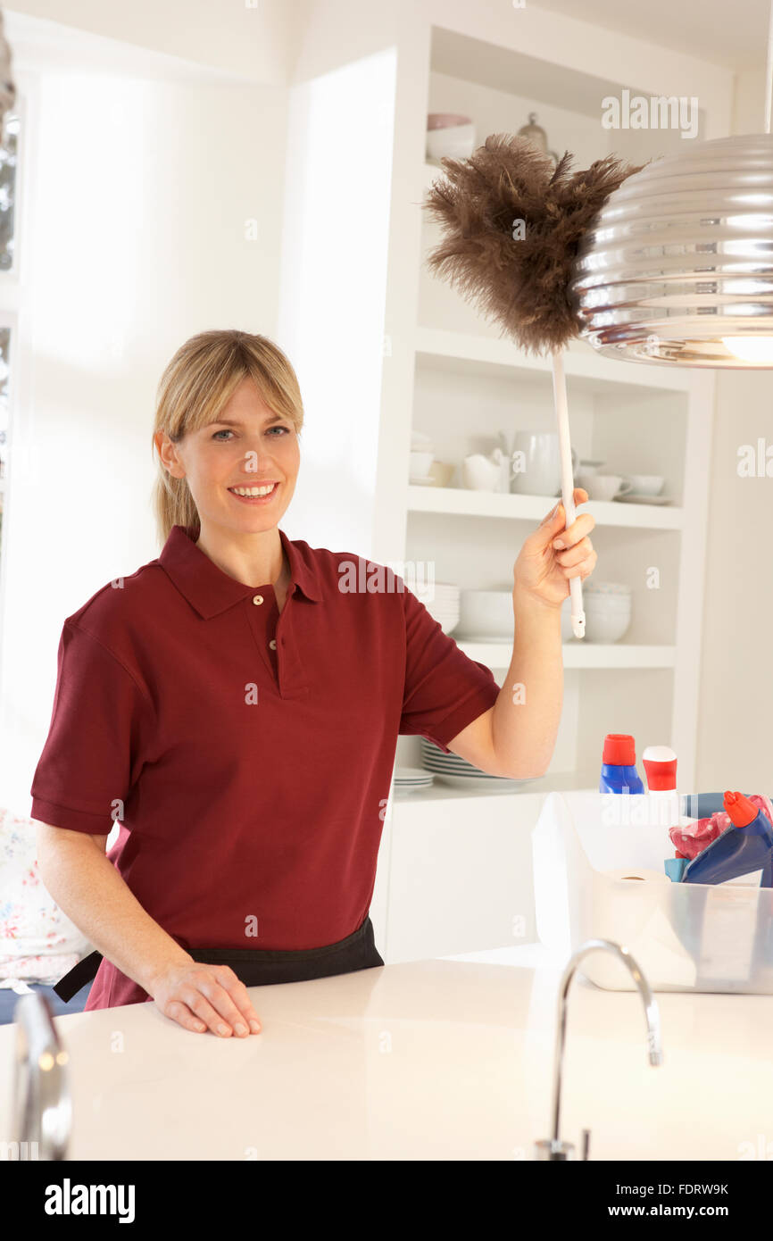 housewife,cleaning lady,dusting Stock Photo