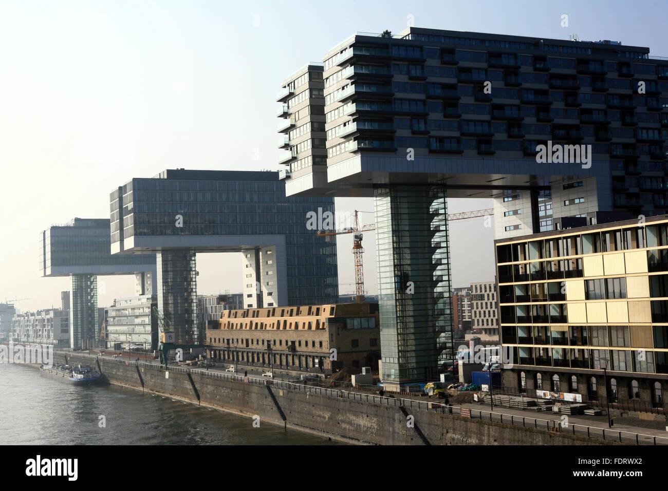 rheinauhafen,crane house - Stock Image