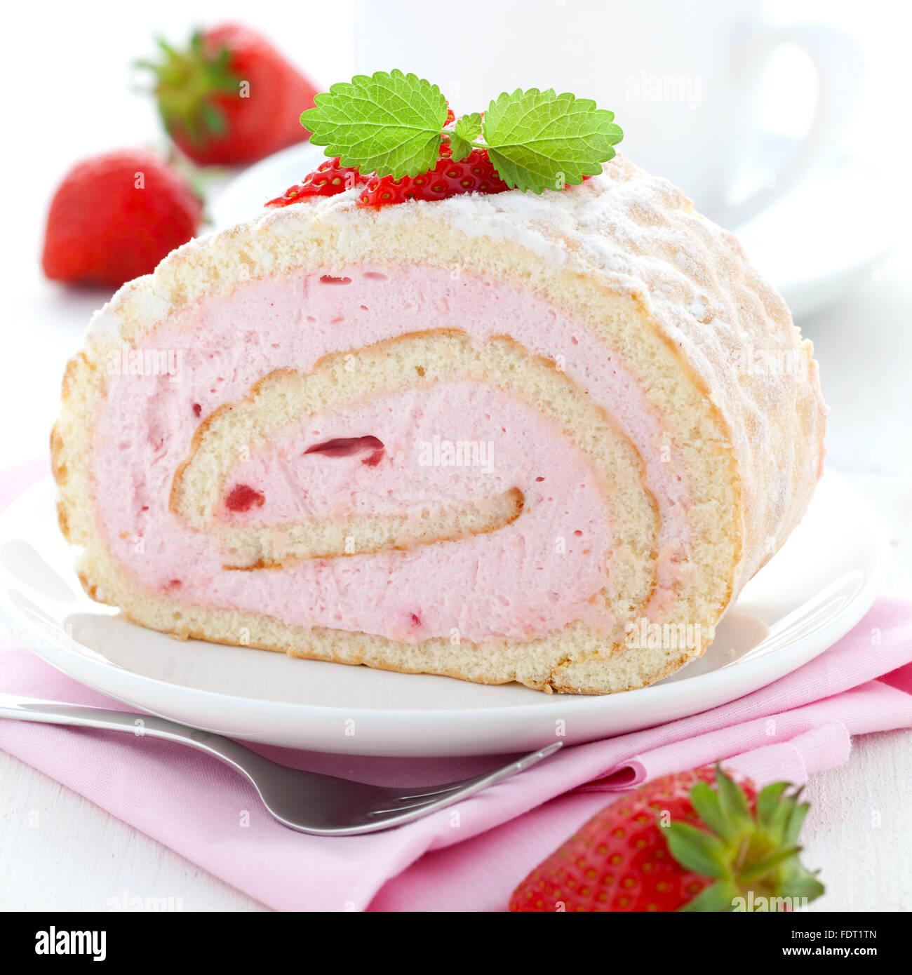 dessert,strawberry cream,swiss roll Stock Photo