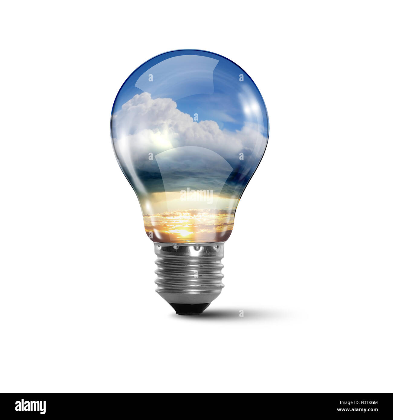 Illustration of an electric light bulb with clean and safe