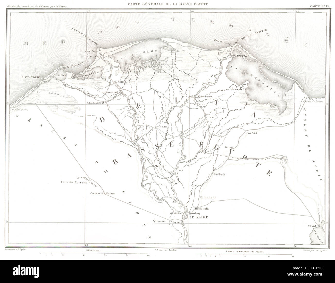 EGYPT: NILE DELTA: Basse Egypte. Kaire Cairo Alexandrie, 1859 antique map - Stock Image