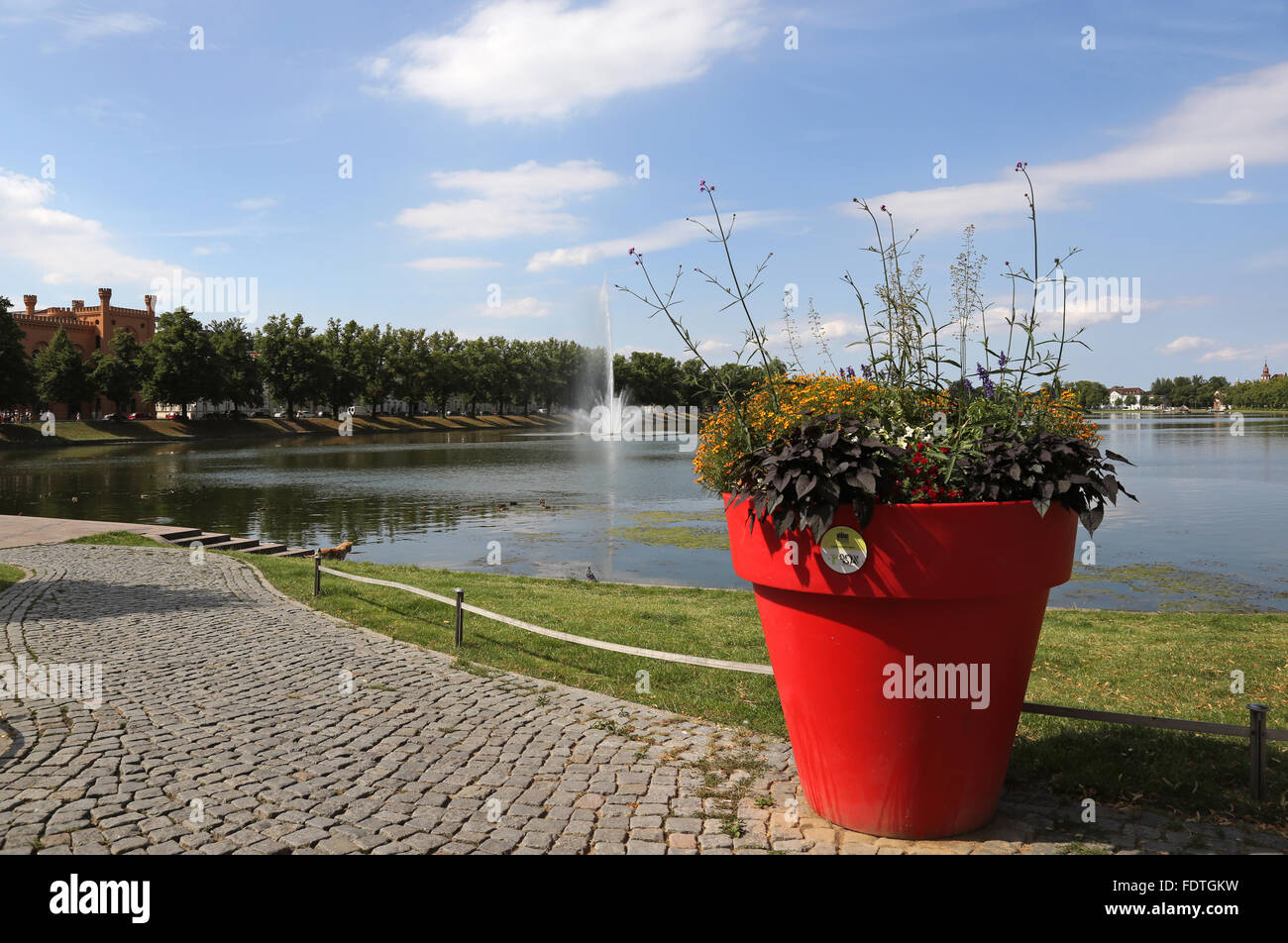 Schwerin, Germany, overlooking the Pfaffenteich Stock Photo