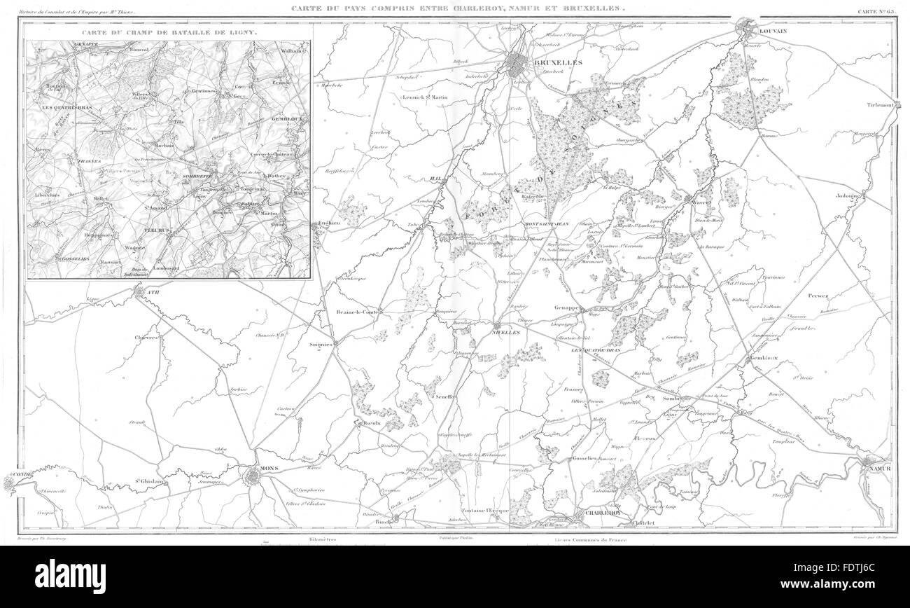 BELGIUM: Charleroi Namur Mons Bruxelles;Bataille de Battle Ligny 1815, 1859 map - Stock Image