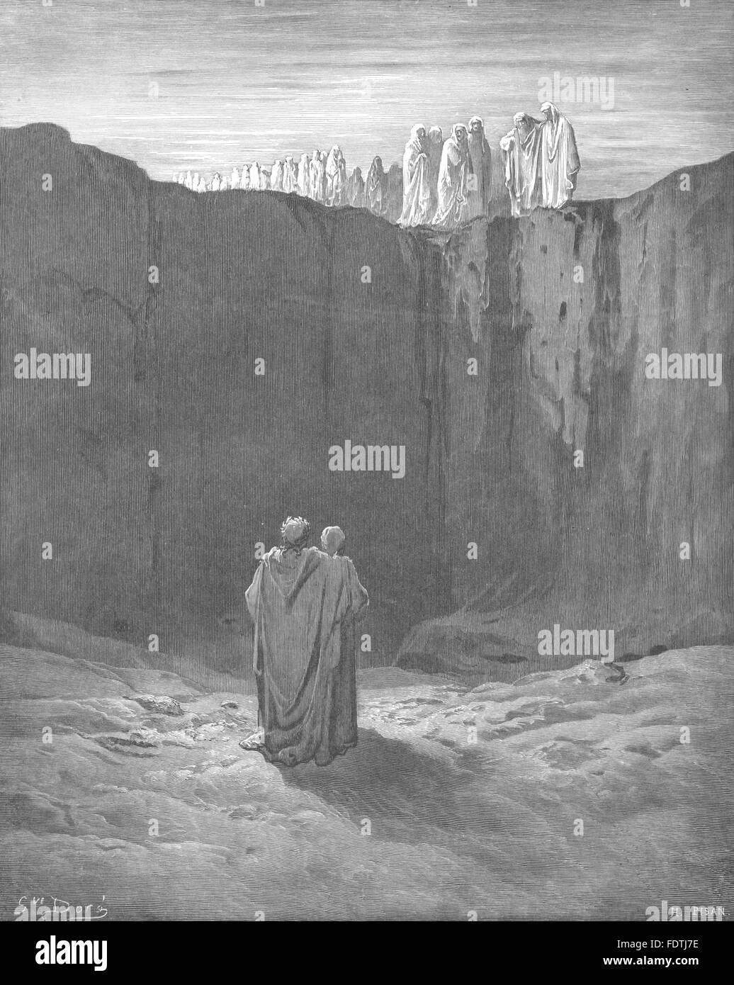 DANTE: While, looks directed ground, meaning pathway he explored, print 1893 - Stock Image