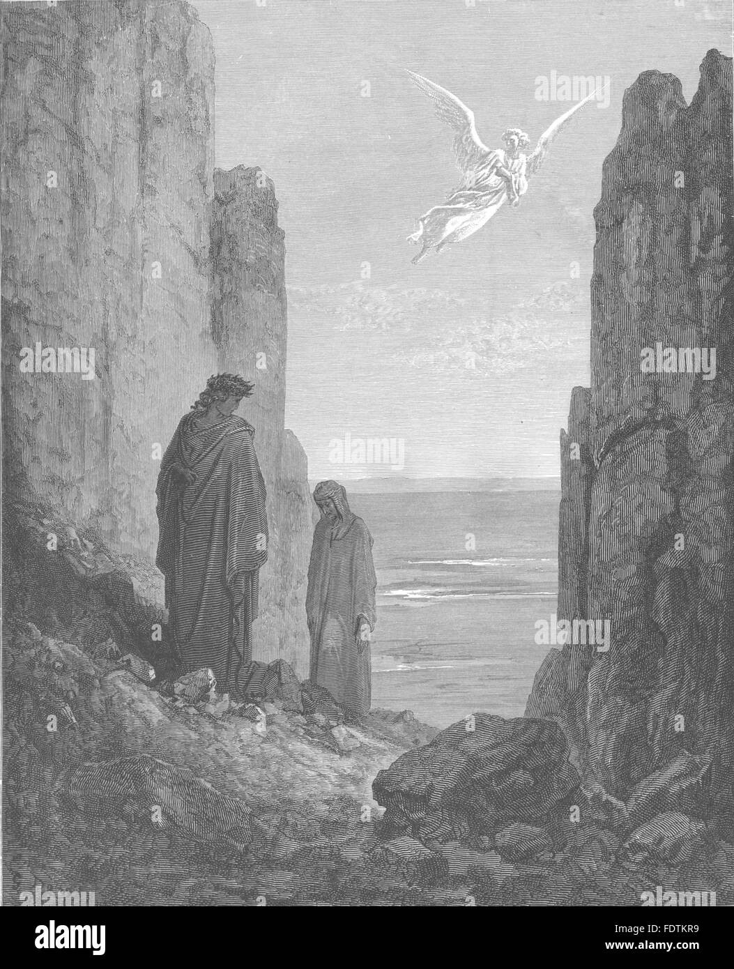 DANTE: Aileth thee, that still thou Look'st earth? began my leader, print 1893 - Stock Image