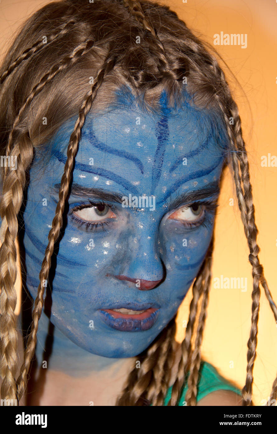 Berlin, Germany, Girl makeup like in the movie Avatar - Stock Image