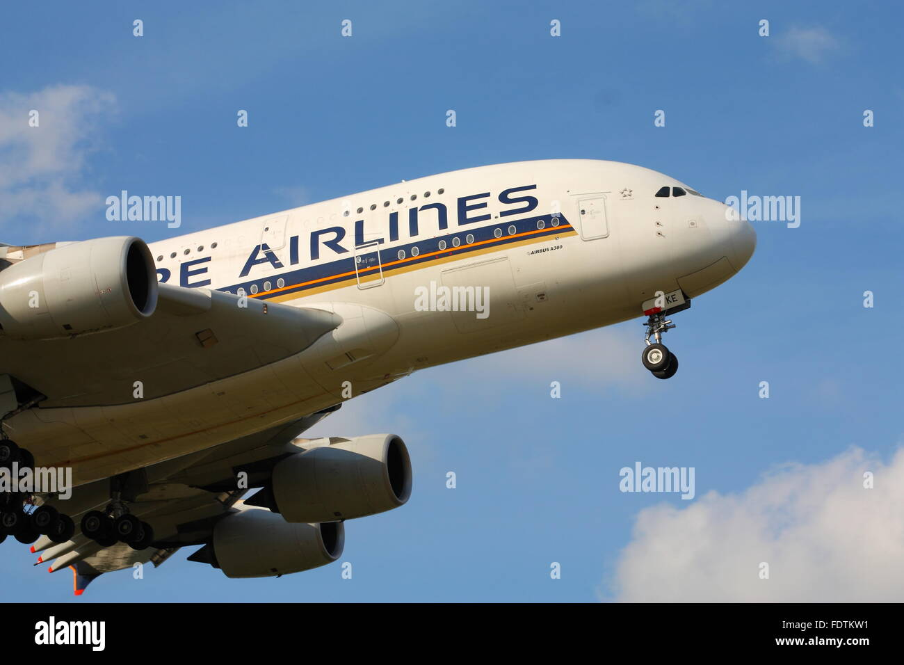 Singapore Airlines Airbus A380-800 9V-SKE landing at London Heathrow Airport, UK Stock Photo
