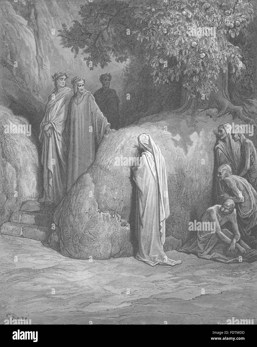 DANTE: who are those Twain Spirits, that escort thee there?, old print 1893 - Stock Image