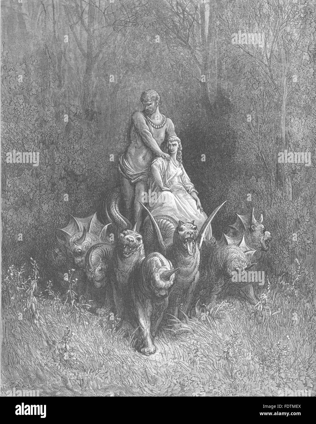 DANTE:side,ast that none might bear,saw giant stand;ever anon they mingled, 1893 - Stock Image