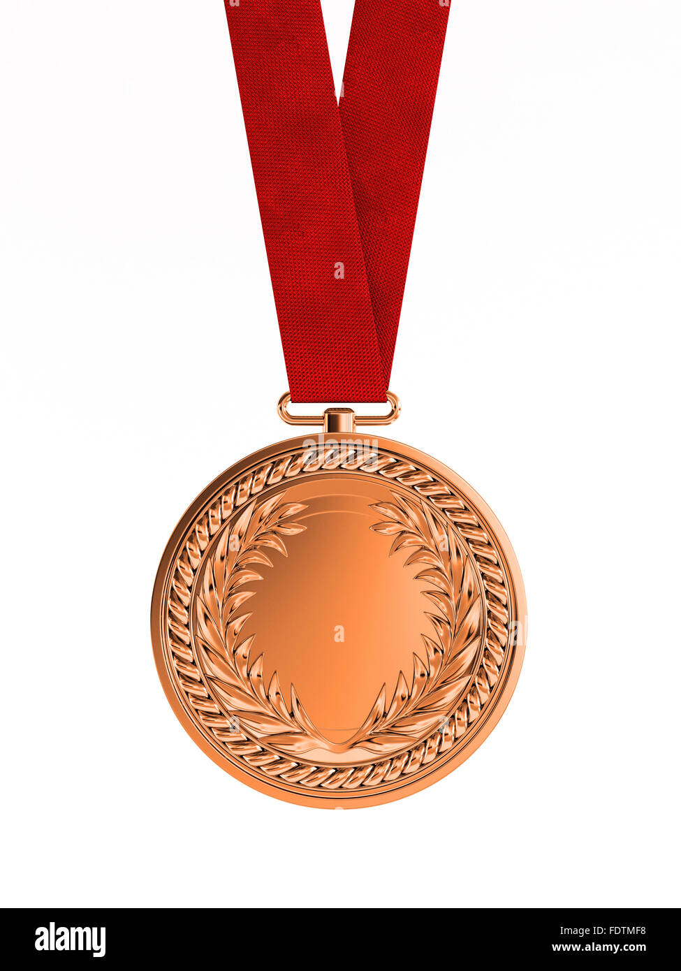 Blank bronze medal with ribbon for third place championship isolated on white background - Stock Image