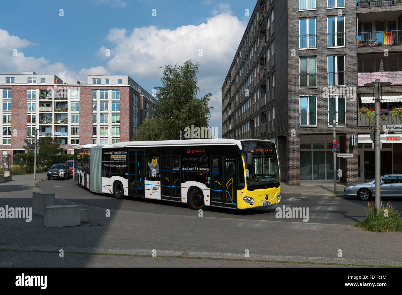 Berlin, Germany, BVG is testing Large-capacity articulated bus - Stock Image
