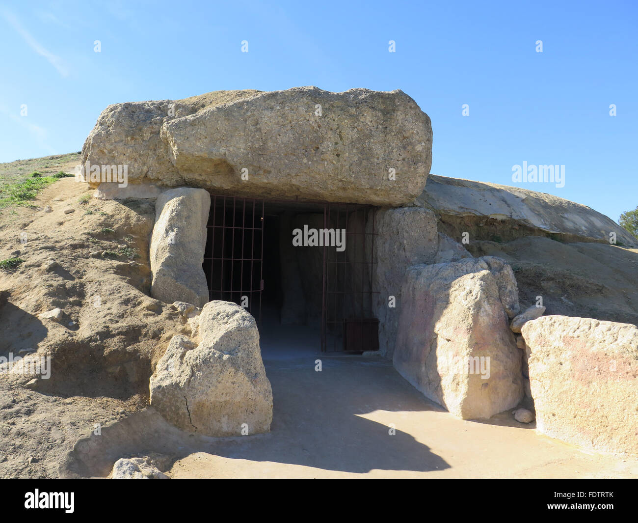 Entrance to ancient Dolmen burial chamber near Antequera, Andalucia - Stock Image