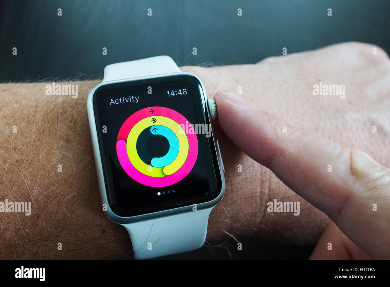 Detail of health app measuring daily activity on an Apple Watch - Stock Image