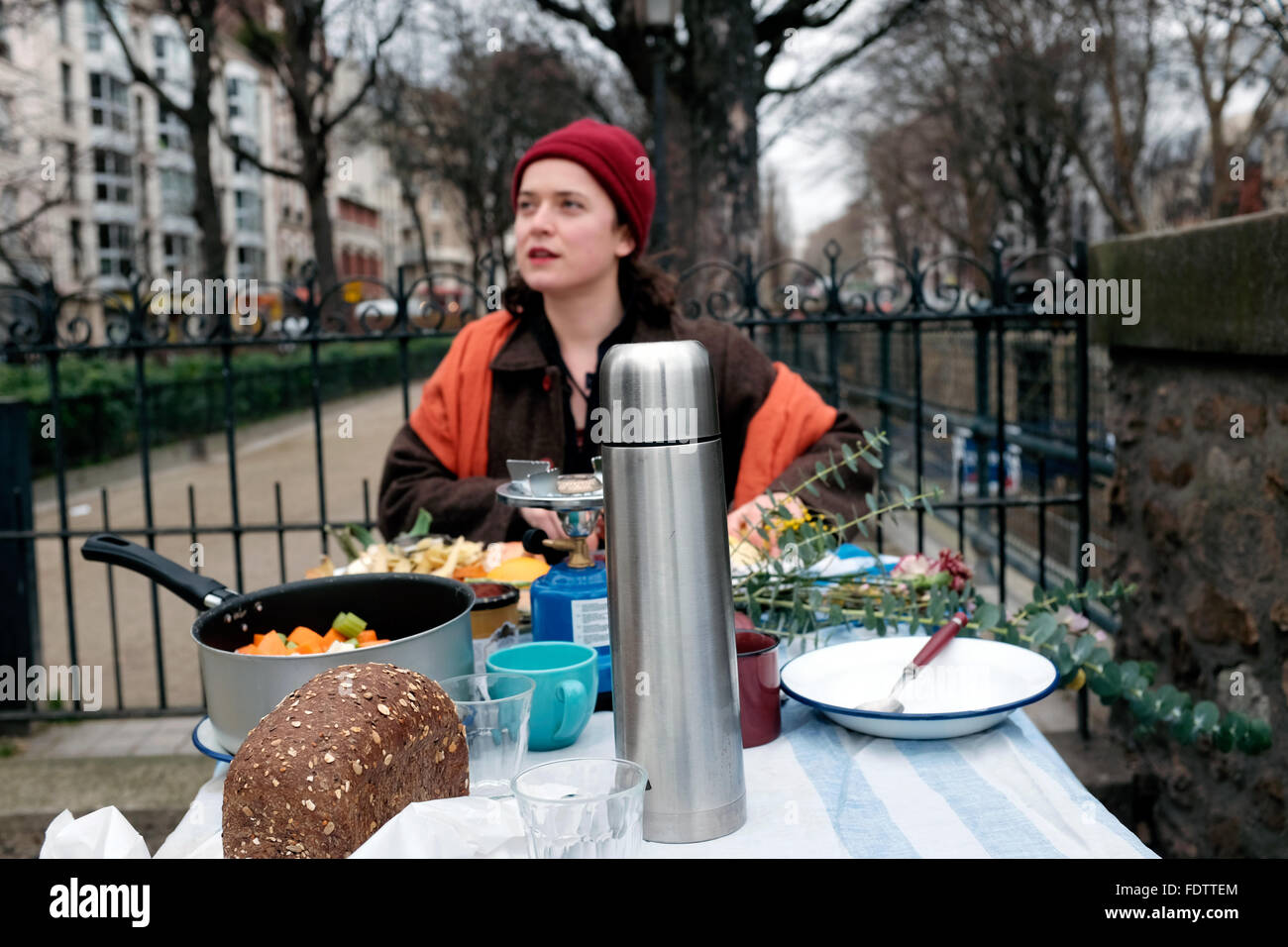 When Elsa is not working within the French film industry she can be found cooking soup and making tea on the streets - Stock Image