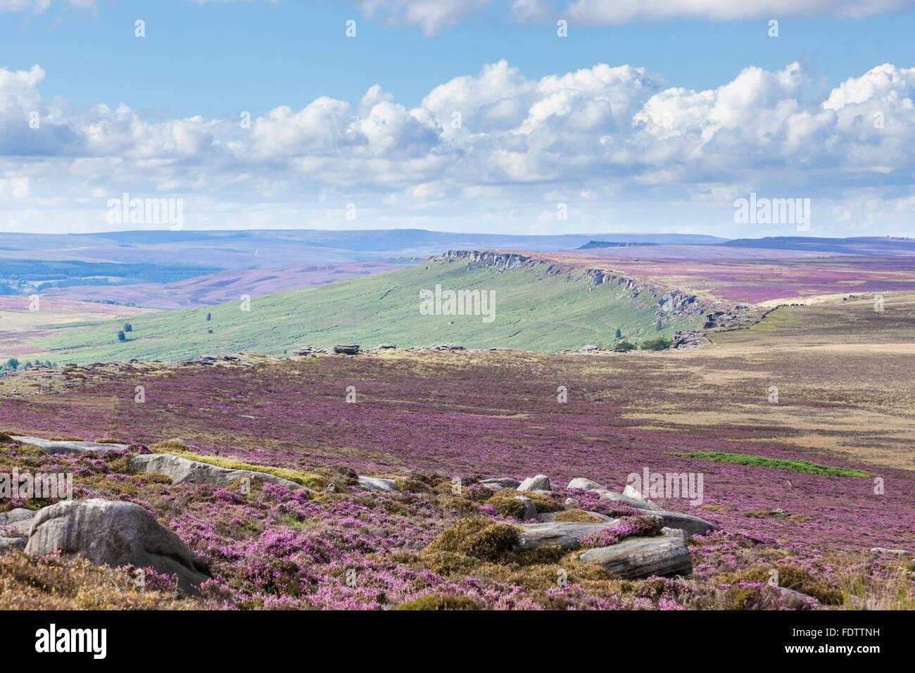 Stanage Edge, a gritstone escarpment on the Derbyshire Yorkshire border, Peak District, England, UK - Stock Image