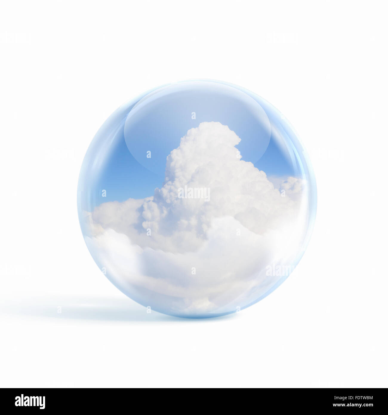 White clouds in blue sky inside a glass sphere - Stock Image