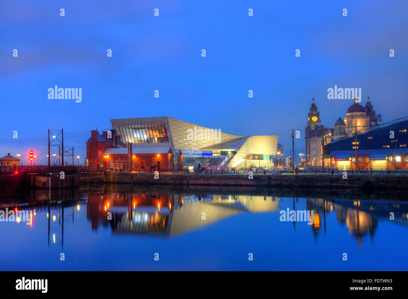 The Museum of Liverpool from the Albert Dock, Liverpool, Merseyside - Stock Image