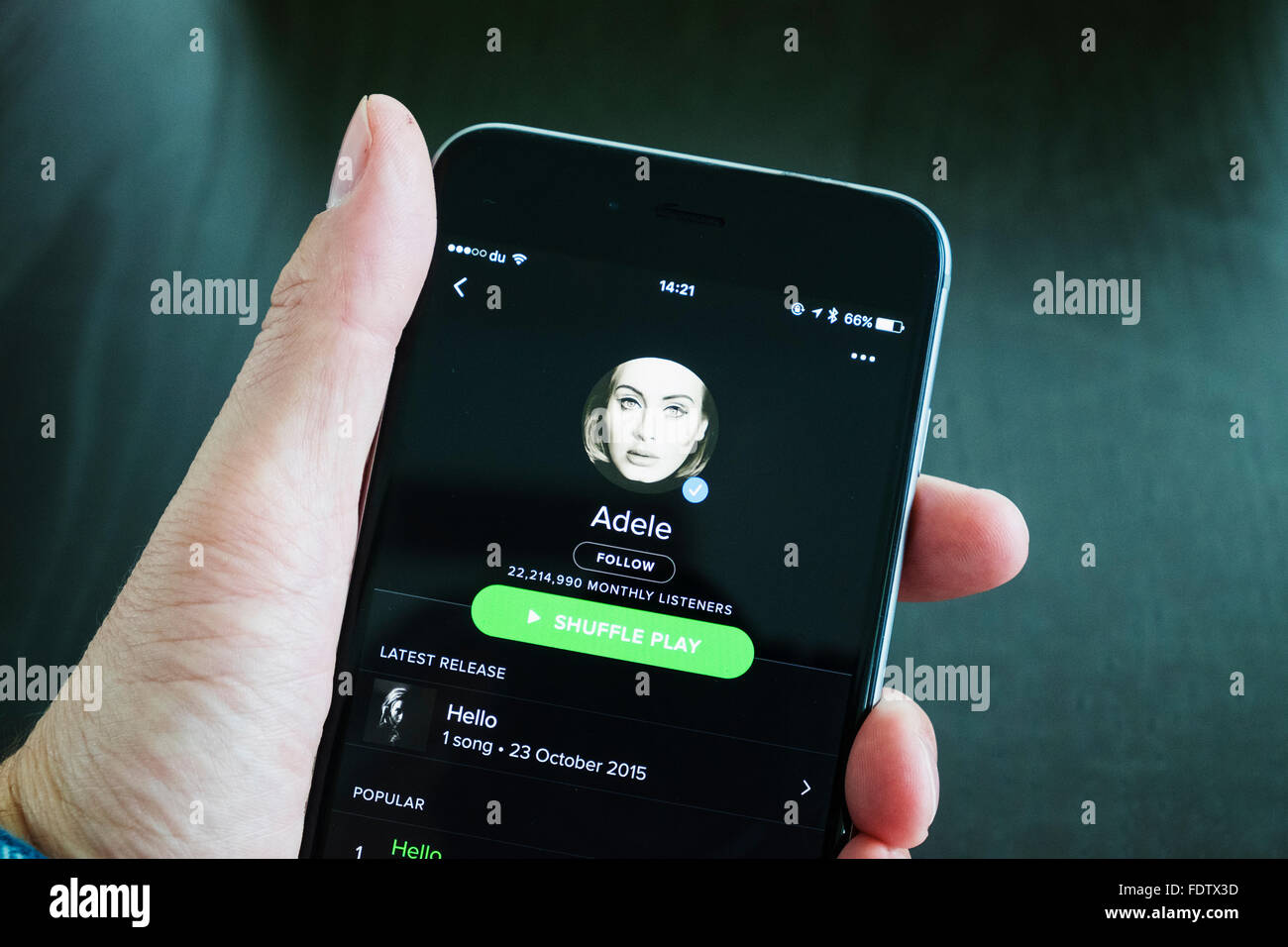 Spotify online music streaming app showing Adele on an iPhone 6 plus smart phone - Stock Image
