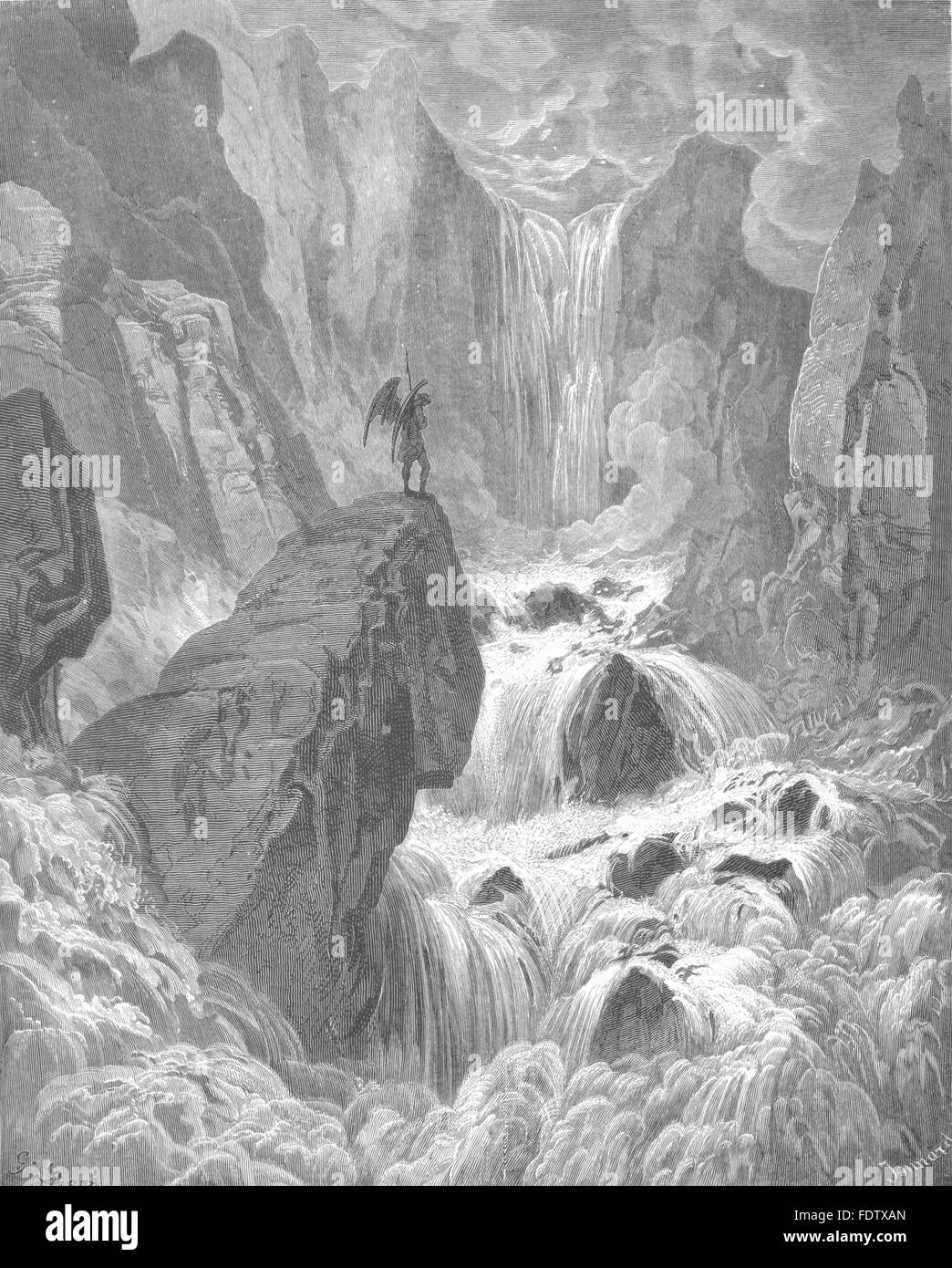 MILTON PARADISE LOST: In with the river sunk, and with it rose, Satan, c1886 - Stock Image