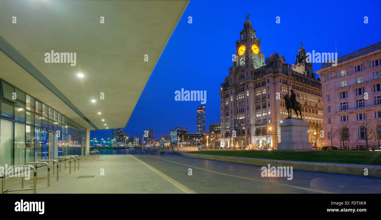Liver building from the pier head, Merseyside, N/W England - Stock Image