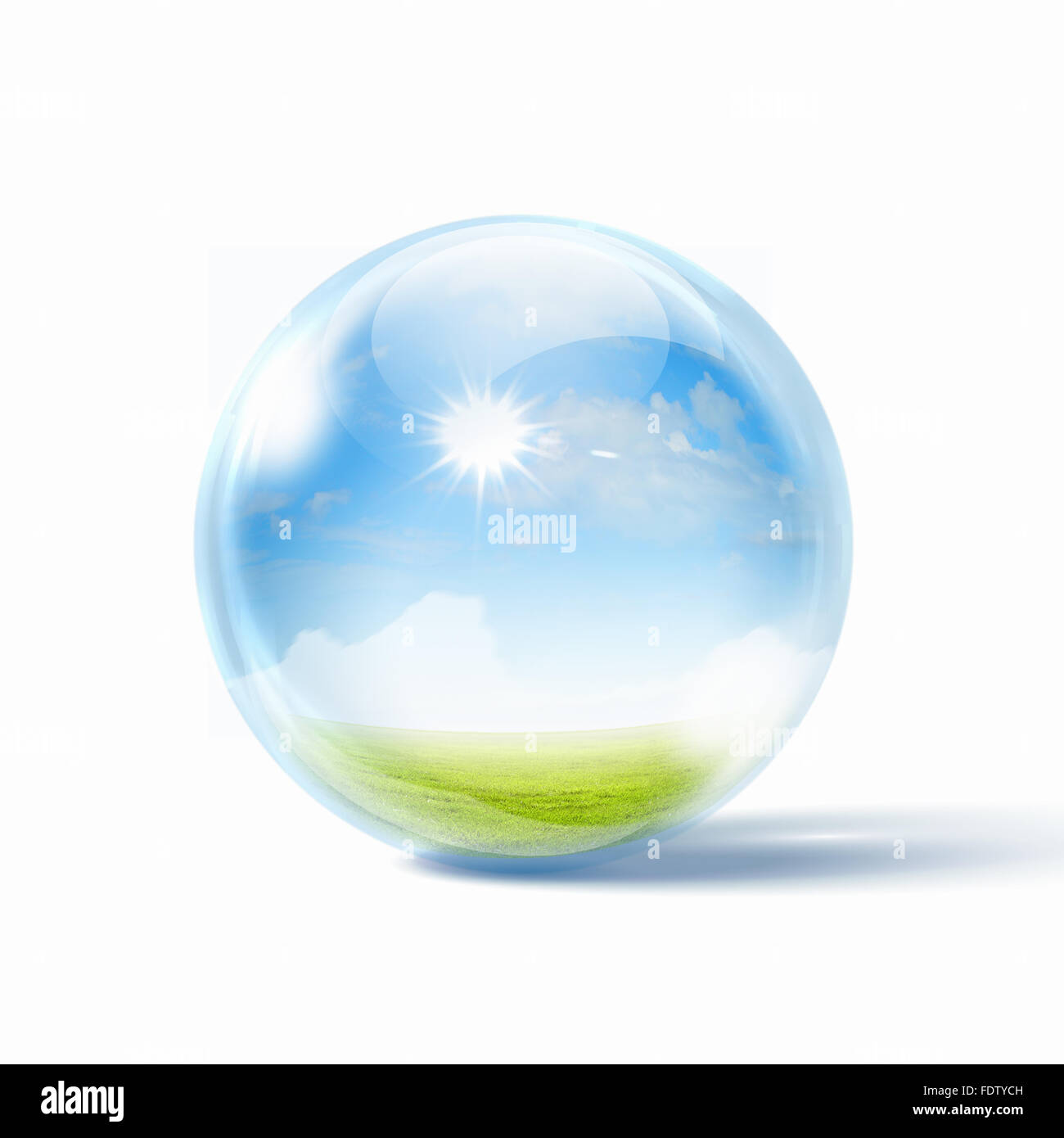 White cloud in the blue sky inside a glass sphere - Stock Image