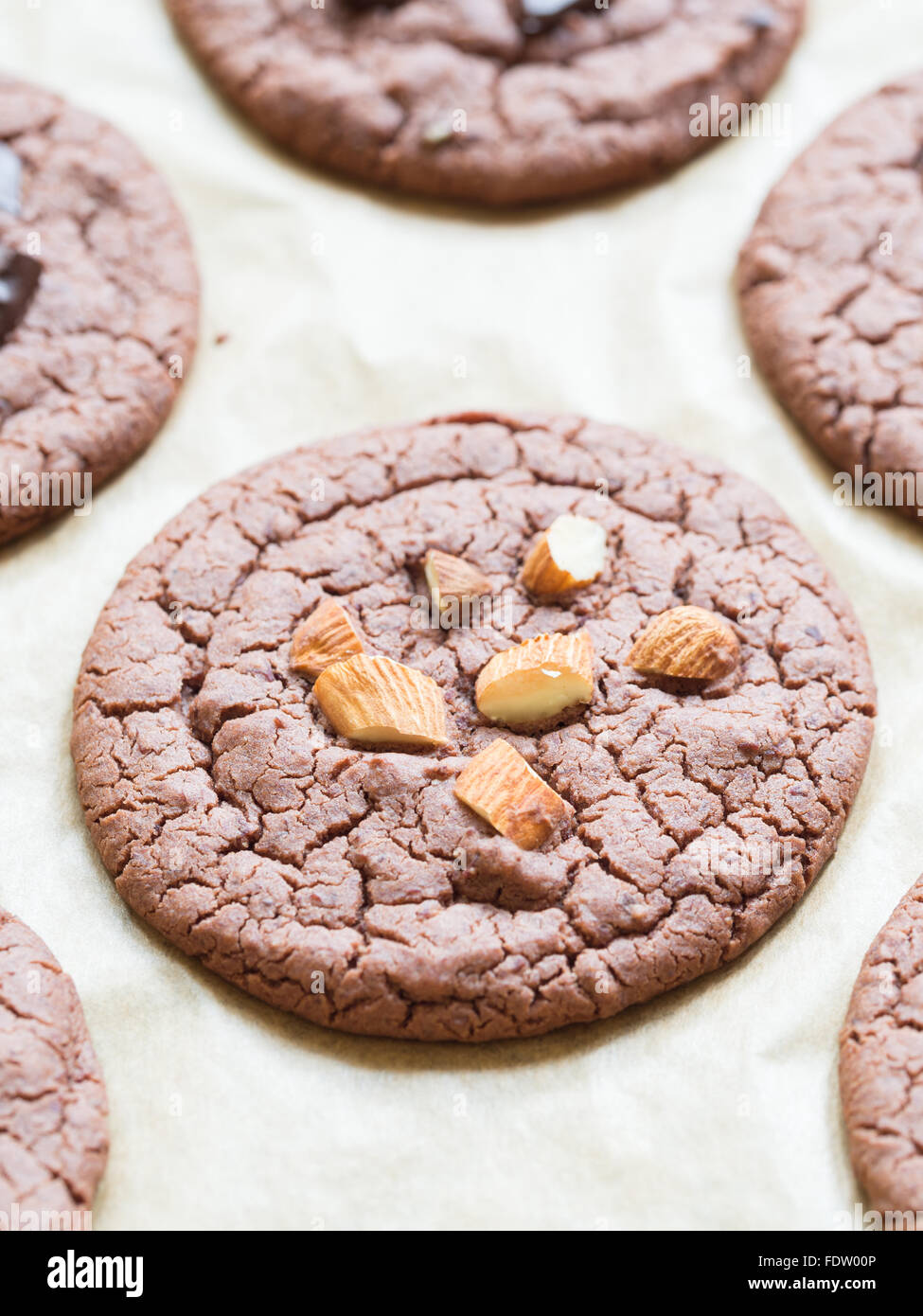 Vegan flowerless gluten free chocolate cookies with almonds. - Stock Image