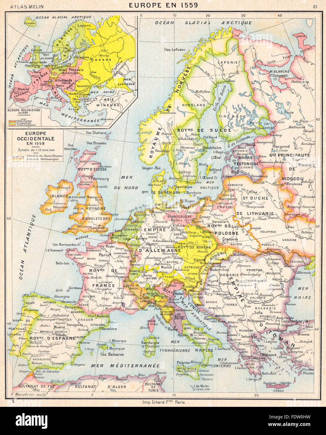 Europe Europe Occidentale En 1559 Inset Map Of Europe Religieuse