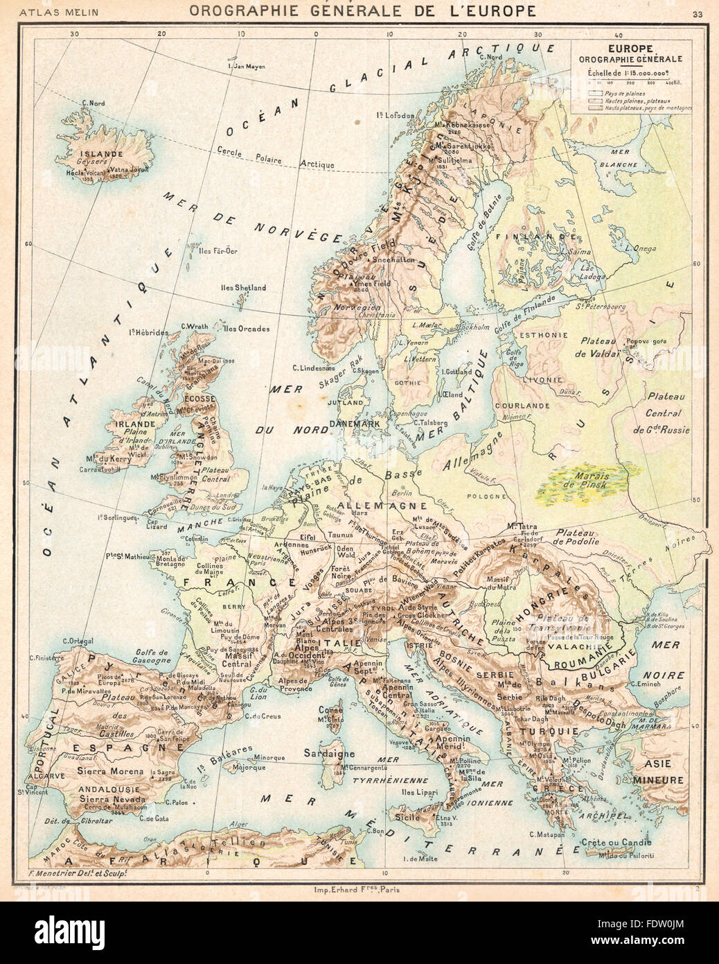 EUROPE: Orographie Générale De Lu0027Europe, 1900 Antique Map