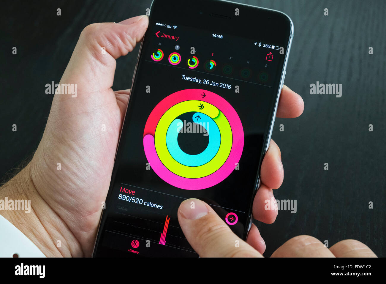 Health app measuring daily activity on iPhone 6 Plus smart phone - Stock Image