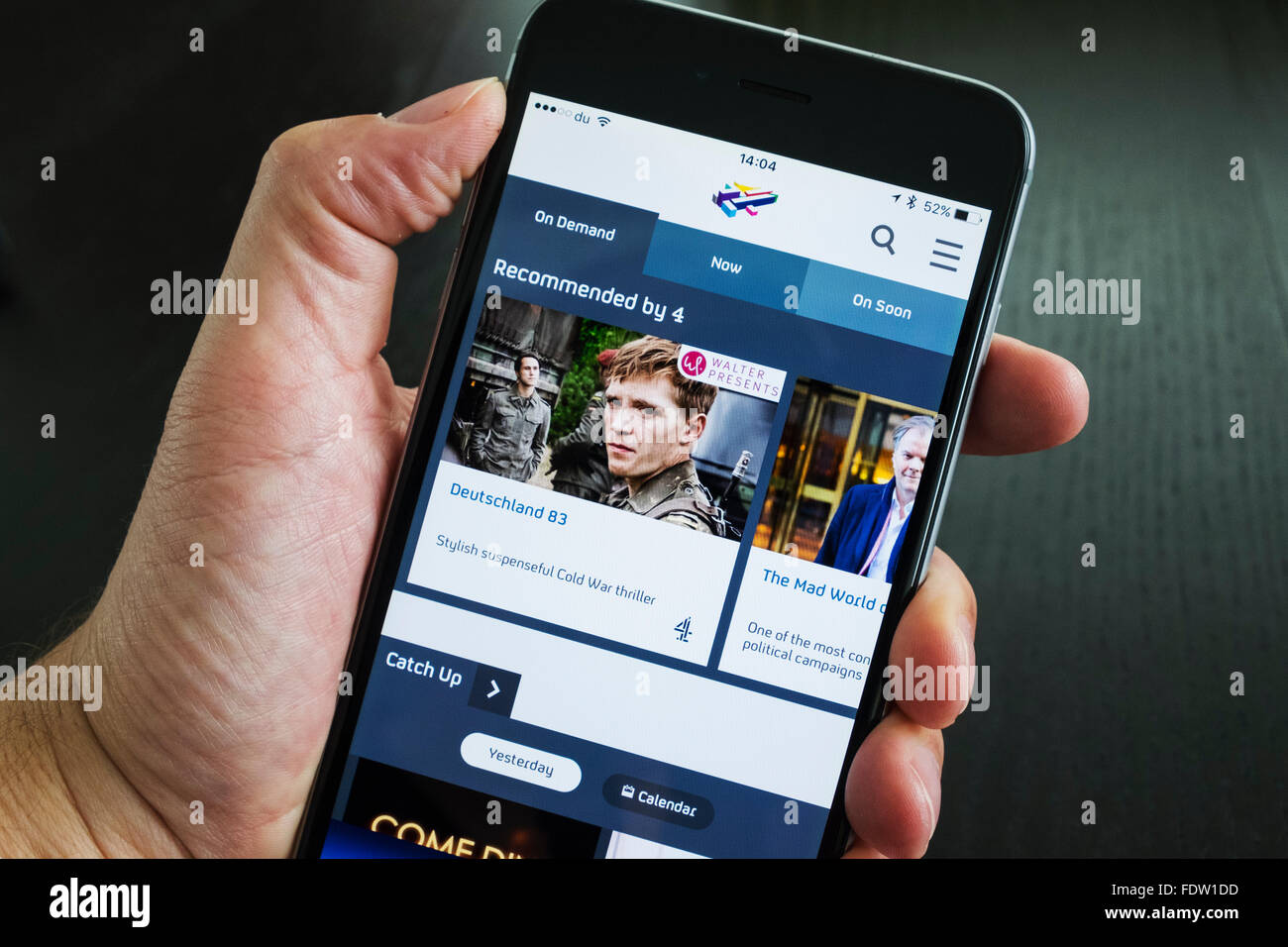 Homepage of Channel 4's All 4 on demand TV catchup streaming app on iPhone 6 plus smart phone - Stock Image
