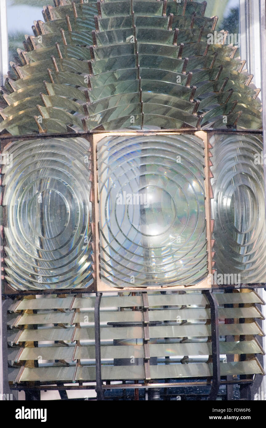 Fresnel lens lenses optics refraction refractive index light bend bending lighthouse bulb bulbs lenses refracting - Stock Image