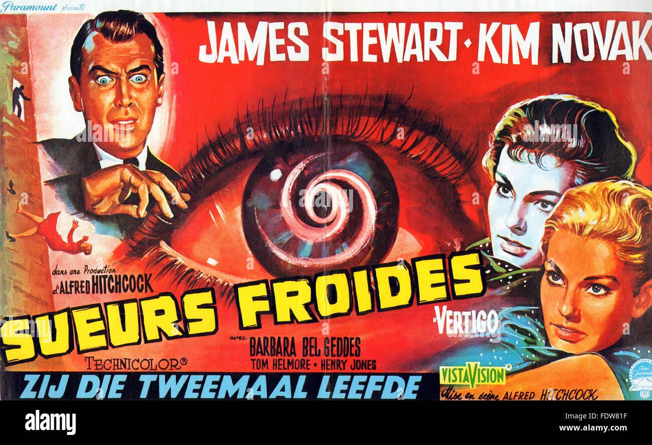 Vertigo - French Movie Poster - Stock Image