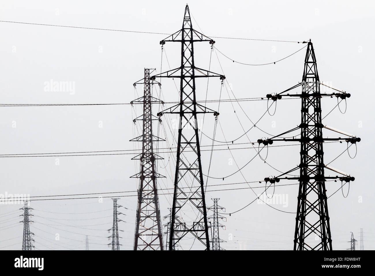 Graphic image of electricity pylons in rural Kanagawa, Japan - Stock Image