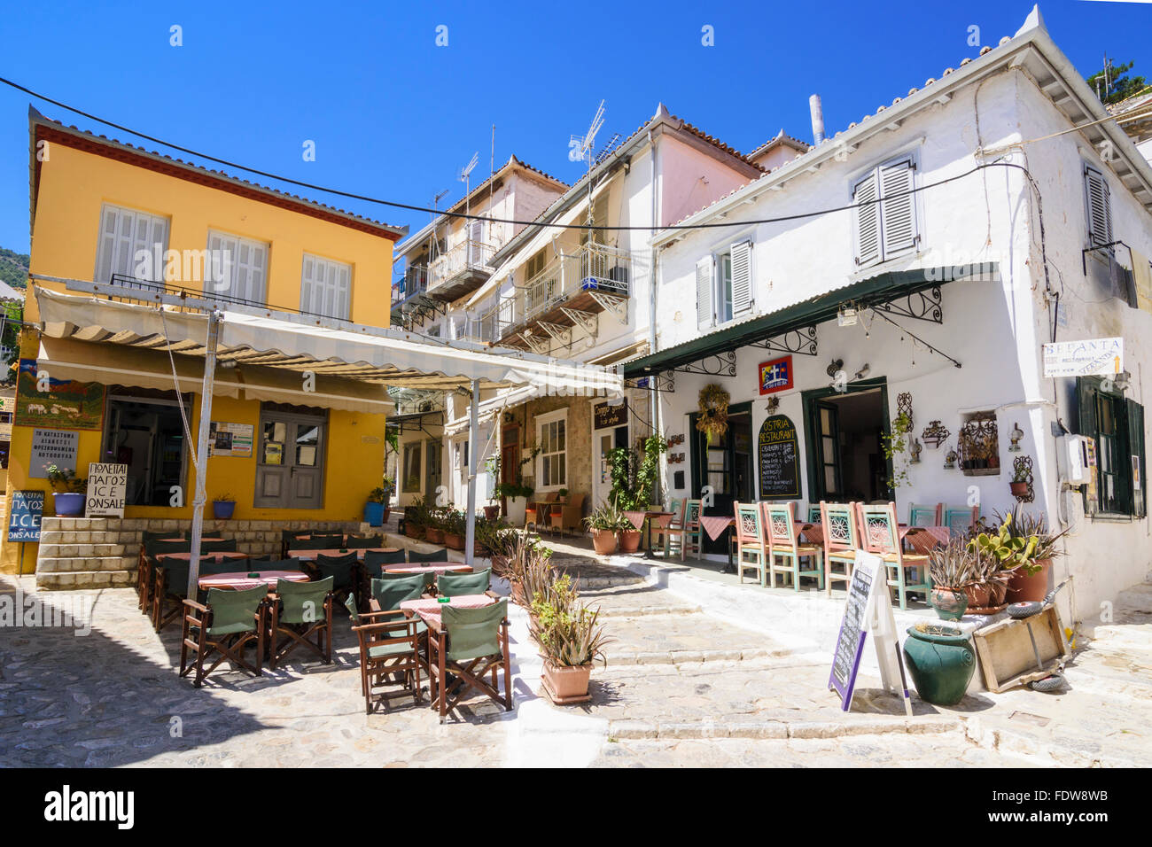 Restaurants and café in Hydra Town, Hydra Island, Greece - Stock Image