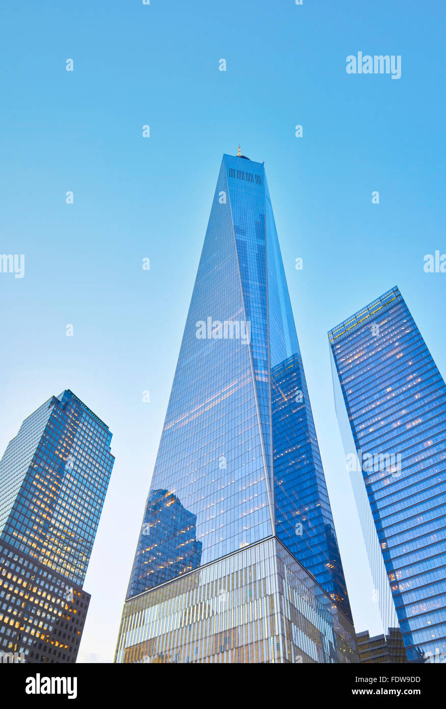NEW YORK - JULY 29: Freedom Tower in Manhattan on July 29, 2015. One World Trade Center is the third-tallest building Stock Photo