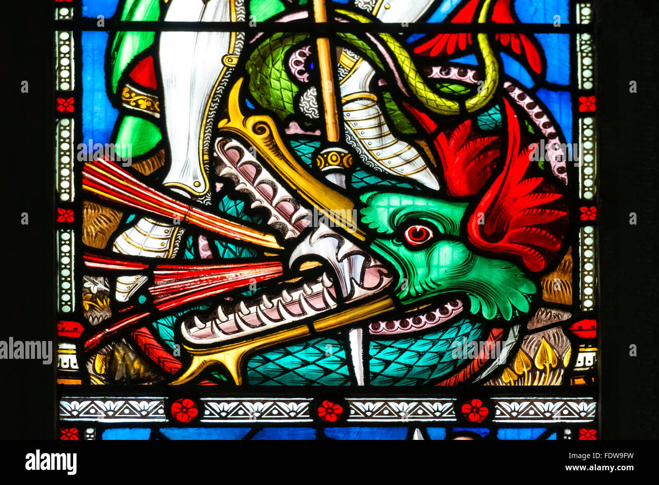 Stained glass window inside of Hereford Cathedral, UK. - Stock Image